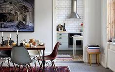 Innerstadsspecialisten {eclectic white scandinavian bohemian industrial vintage modern dining room / kitchen} by recent settlers, via Flickr