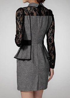 Flat Collar Peplum Waist Lace Panel Grey Dress   modlily.com - USD $36.63