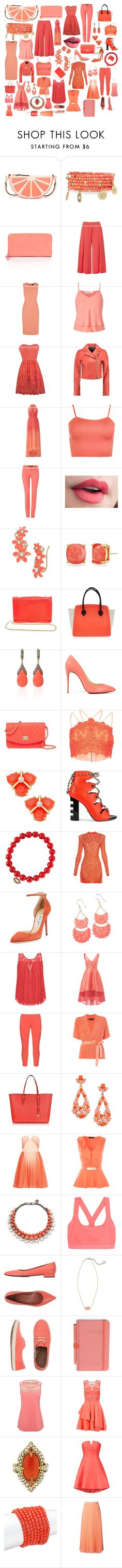 """Color Scheme: Coral"" by andyarana ❤ liked on Polyvore featuring Kate Spade, Emily & Ashley, Marella, Jaeger, Miss Selfridge, T By Alexander Wang, Badgley Mischka, WearAll, Oui and B Brian Atwood"