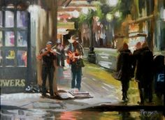 The Last Act Seattle city, oil painting by Robin Weiss, painting by artist Robin Weiss