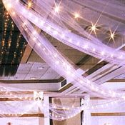 "Love how the tulle hangs from ceiling with lights in it. Instead of ""tent"" of tulle. And the purple would add some color. Tulle Ceiling, Ceiling Decor, Ceiling Lights, Tulle Decorations, Wedding Decorations, Wedding Ideas, Geek Wedding, Trendy Wedding, Wedding Centerpieces"