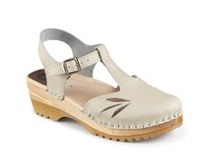 Clog Spring Collection - Karin in Nude Leather with adjustable back strap  https://superiorclogs.com/product/karin-nude/