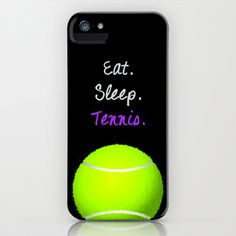 Eat. Sleep. Tennis.  (Black with Pink) iPhone & iPod Case by QuelleBelle - $35.00