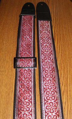 Red & Silver Celtic/Rennaisance GUITAR STRAP by ScentedSoftandSewn, $32.99
