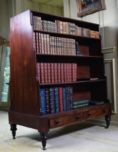 Double-Sided Regency Bookcase, circa 1810 | From a unique collection of antique and modern bookcases at https://www.1stdibs.com/furniture/storage-case-pieces/bookcases/