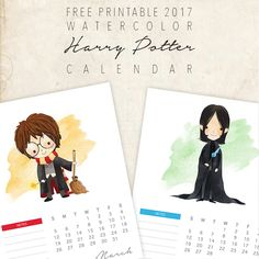 Resize for adorable title cards for Project life. Source: Free Printable 2017 Harry Potter Calendar – The Cottage Market