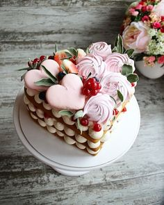 Pretty Cakes, Cute Cakes, Beautiful Cakes, Amazing Cakes, Mini Cakes, Cupcake Cakes, Valentines Day Cakes, Biscuit Cake, Number Cakes