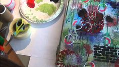 Art Journal/mixed media. Donna Downey inspired, gesso, stencils and mold...