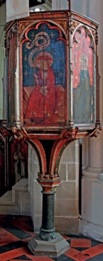 St. James, Castle Acre, England. Richly painted oak 'wine-glass' pulpit