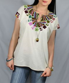 Vintage 60's 70's style HiPPiE Oaxacan Huipil Embroidered Tunic Top