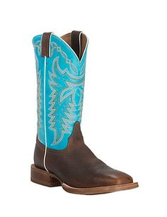 Justin Bent Rail CPX Men's Whiskey Mustang with Circo Blue Top Double Welt Square Toe Western Boots