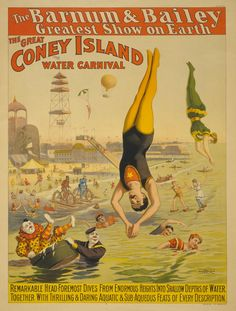 Barnum & Bailey Coney Island Water Carnival Old Circus Poster - Vintage Circus Posters, Carnival Posters, Carnival Themes, Poster Vintage, Retro Posters, Vintage Artwork, Art Posters, Movie Posters, Coney Island