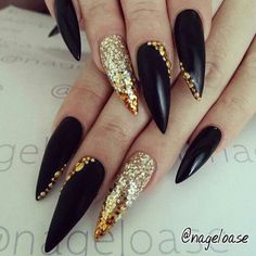 Best Black Stiletto Nails Designs For Your Halloween; Black nails; black and white; Classy Nails, Fancy Nails, Trendy Nails, Sexy Nails, Gold Stiletto Nails, Matte Nails, Black Gold Nails, Stiletto Nail Designs, Pointy Nails