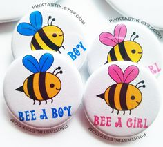 20 Bee baby shower buttons bee buttons Bee theme by PINKTASTIK