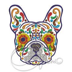 MACHINE EMBROIDERY DESIGN - Calavera French Bulldog, Dia de los muertos, Mexican design, Halloween design, calavera dog, Day of the dead by OTKETO on Etsy https://www.etsy.com/listing/231295266/machine-embroidery-design-calavera