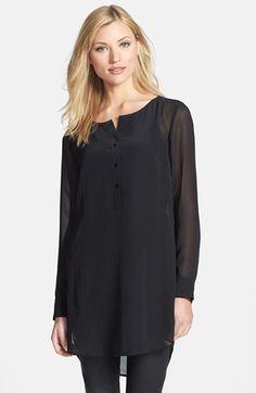 Eileen Fisher Round Neck Long Silk Tunic