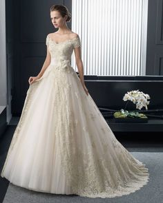 ビンテージ オフショルダー ホール ボールガウン 花嫁のドレス ウェディングドレス Hro0184