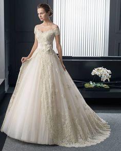 #Dathybridal ビンテージ オフショルダー ホール ボールガウン 花嫁のドレス ウェディングドレス Hro0184
