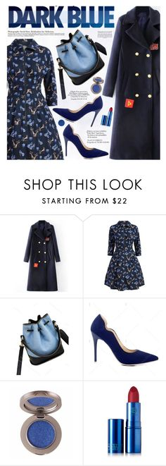 """Dark Blue"" by katjuncica ❤ liked on Polyvore featuring Lipstick Queen, highheels, darkblue, ALinedress, darkbluecoat and printreddress"