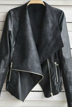 Fashionable Turn-Down Collar Long Sleeve Zippered PU Leather Jacket For Women