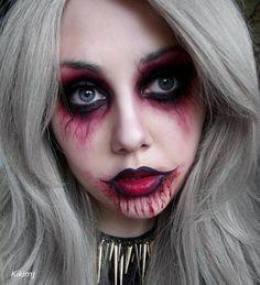 Kikimj's zombie makeup - Easy Make Up Halloween Makeup Looks, Halloween Looks, Happy Halloween, Halloween Costumes, Halloween Zombie, Zombie Prom Queen, Zombie Makeup Easy, Pirate Makeup, Demon Makeup