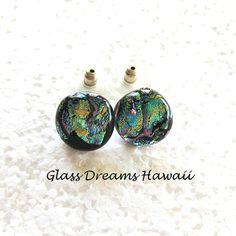 Dichroic Glass Earrings  Fused Glass Stud by GlassDreamsHawaii