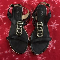 Black super flat sandals.  Sz 11W.  Rhinestones. Midnight Velvet Black super flat sandals.  Sz 11W.  Rhinestones accented center.  Buckles on back of outer ankle.  Each shoe is missing one rhinestone (very hard to notice). Worn once. Midnight Velvet Shoes Sandals