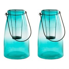 "One of my favorite discoveries at ChristmasTreeShops.com: 10"" Teal Tealight Candle Lanterns, Set of 2"