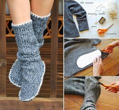 How to DIY Slipper Boots from old sweater Old Sweater, Cat Sweaters, Sweater Boots, Upcycled Sweater, Cute Slippers, Crochet Slippers, Diy Clothing, Sewing Clothes, Alter Pullover