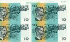 AUSTRALIA INVESTMENT! $10 FOLDER FRASER COLE B OF 4  UNCUT SELVEDGE UPPER BORDER