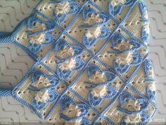 Hobby lavori femminili - ricamo - uncinetto - maglia: mattonella farfalla