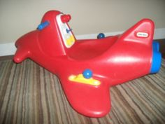 RARE Little Tikes RIDE ON ROCKET Red Rocking Space Ship Airplane Plane Jet  #LittleTikes