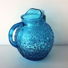 Blue Lido Bubble Glass Pitcher Anchor Hocking Aqua by ItsStillLife, $17.50