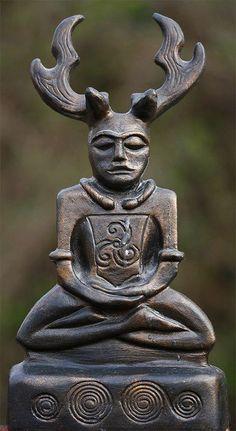 "Cernunnos is the conventional name given in Celtic studies to depictions of the ""horned god"" of Celtic polytheism. Cernunnos - by Robert Clarke Art Romain, Symbole Viking, Celtic Culture, Celtic Mythology, Les Religions, Celtic Art, Celtic Dragon, Green Man, Gods And Goddesses"