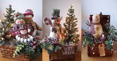 wicker basket with snowman Holiday Baskets, Christmas Wreaths, Christmas Tree, Christmas Centerpieces, Wicker Baskets, Ladder Decor, Snowman, Ornaments, Embroidery