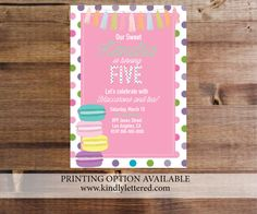 Birthday party invitations-Macaroon Invites-Girl by KindlyLettered