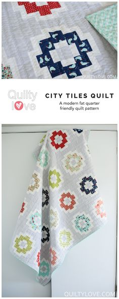 City Tiles quilt pattern by Emily of quiltylove.com. Modern quilt pattern using Bonnie and Camille fabrics.
