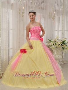 99b7e4b5115 Buy perfect pink and yellow taffeta and tulle sweet sixteen dress with  flowers from multi colored quinceanera dresses collection