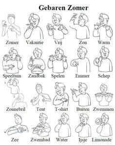 Gebarentaal zomer Sign Language Phrases, Sign Language Alphabet, Kids Reading Books, Reading Groups, Deaf Sign, Learn Dutch, Bullet Journal 2, Deaf People, Special Needs Kids