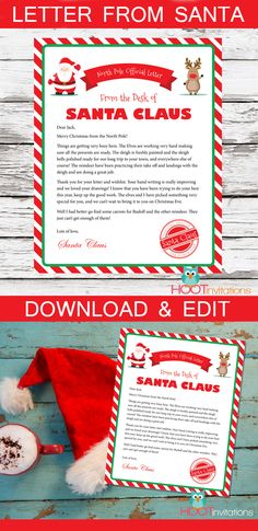 Letter from Santa - Gift Idea for Kids  Surprise your child with a personalized letter from Santa this holiday season! How magical to receive a note from Santa A wonderful gift idea for kids this Christmas! Visit Hootinvitations on etsy to download & edit.
