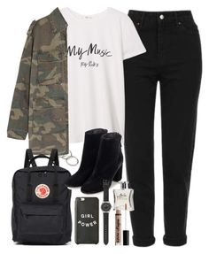 """outfit for university with a backpack and military jacket"" by ferned ❤ liked on Polyvore featuring Forever 21, Topshop, MANGO, Yves Saint Laurent, Fjällräven, J.Crew, Laila and NYX"