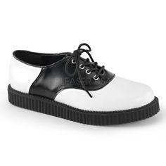 DEMONIA Mens Leather Platform Rockabilly Shoes Goth Punk CREEPER-606 Black White #Demonia #LaceUps