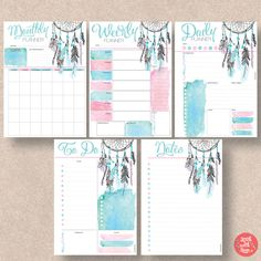 Dream Catcher Printable Planner 5 pack includes Daily Planner, Weekly Planner, Monthly Planner, To Do Planner and Notes Planner. - Weekly and Monthly start on a Planner A5, To Do Planner, Daily Planner Printable, Planner Pages, Weekly Planner, Planner Stickers, Happy Planner, Free Printable, Planer Organisation