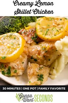 *NEW*Our easy Creamy Lemon Skillet Chicken is coated in a luscious creamy lemon sauce and can be ready in 30 minutes! Perfect for a weeknight meal or company! Turkey Recipes, Chicken Recipes, Turkey Meals, Dinner Recipes, Creamy Lemon Chicken, Lemon Pepper Chicken, One Pot Meals, No Cook Meals, Easy Meals