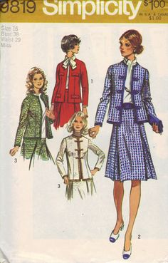 70s Simplicity Sewing Pattern Chanel Style by AdeleBeeAnnPatterns, $6.50