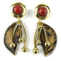 Red Jasper Pod Brass Post Earrings - Brass Images (N)