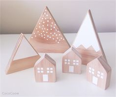 Wooden Village Set CUSTOM ORDERED Wooden Crafts, Wooden Diy, Diy And Crafts, Handmade Wooden, Holiday Crafts, Christmas Crafts, Diy For Kids, Crafts For Kids, Small Wooden House