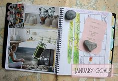 Bronwyn; The Artful Life; Creating goals and a vision board in your planner for each month.