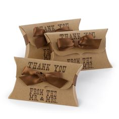 """This Mr. & Mrs Kraft Pillow Wedding Favor Box features grand scalloped edge and in western type the words """"Thank you from the Mr. & Mrs."""" printed in brown."""