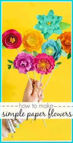 How to make simple Paper Flowers - easy craft idea - - even great for a Mother's Day gift idea - - Sugar Bee Crafts Rolled Paper Flowers, How To Make Paper Flowers, Giant Paper Flowers, Diy Flowers, Simple Flowers, Faux Flowers, Fabric Flowers, Easy Craft Projects, Easy Crafts